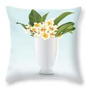 Still Life Of Frangipani Throw Pillow by Prakaisak Rojprasert