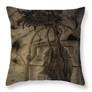 Still Life One Dried Sunflower In Metal Jug Throw Pillow