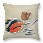 Still Life  Salmon Slices And Sardines Throw Pillow