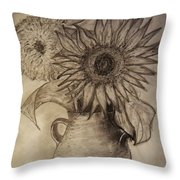 Still Life Two Sunflowers In A Clay Vase Throw Pillow