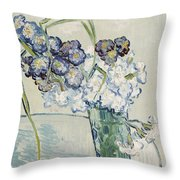 Still Life Vase Of Carnations Throw Pillow by Vincent van Gogh