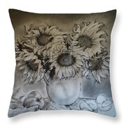Still Life - Vase With 6 Sunflowers Throw Pillow