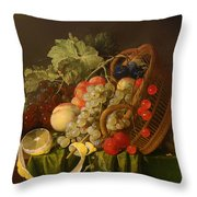 Still Life With A Basket Of Fruit Throw Pillow