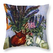 Still Life With A Vase Of Flowers Throw Pillow by Ernst Ludwig Kirchner
