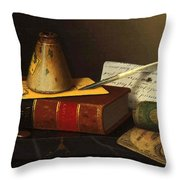 Still Life With A Writing Table Throw Pillow