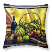 Still Life With Basket Throw Pillow