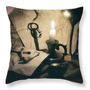 Still Life With Bones Rusty Key Wine Glass Lit Candle And Papers Throw Pillow