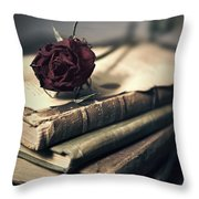 Still Life With Books And Dry Red Rose Throw Pillow