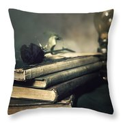 Still Life With Books And Roses Throw Pillow