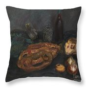 Still Life With Bread And Onions Throw Pillow