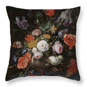 Still Life With Flowers And Watch Throw Pillow