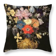Still Life With Flowers, C.1604 Throw Pillow by Georg Flegel