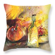 Still Life With Fruits And Flowers And Bottle Throw Pillow
