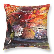 Still Life With Fruits And Vase And Dry Branches Throw Pillow
