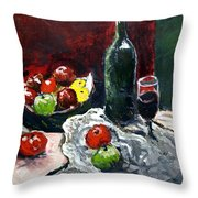 Still Life With Fruits And Wine Throw Pillow