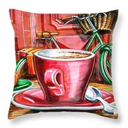 Still Life With Green Dutch Bike Throw Pillow