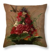 Still Life With Hummingbird Throw Pillow
