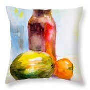 Still Life With Jug And Fruit Throw Pillow