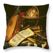 Still Life With Musical Instruments Oil On Canvas Throw Pillow