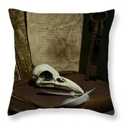 Still Life With Old Books Rusty Key Bird Skull And Feathers Throw Pillow