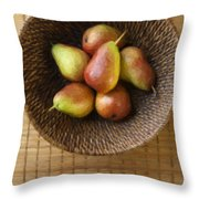 Still Life With Pears And A Rattan Bowl. Throw Pillow by Diane Diederich