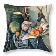 Still Life With Pitcher And Aubergines Oil On Canvas Throw Pillow