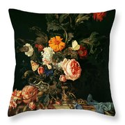 Still Life With Poppies And Roses Throw Pillow