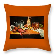 Still Life With Pots Fruit Etc. Throw Pillow