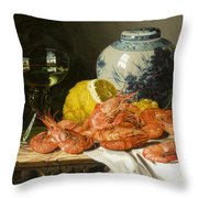 Still Life With Prawns And Lemon Throw Pillow