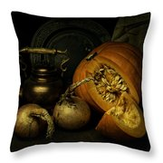Still Life With Pumpkin And Onions Throw Pillow