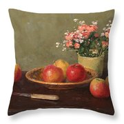 Still Life With Red Apples Throw Pillow