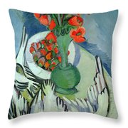 Still Life With Seagulls Poppies And Strawberries Throw Pillow