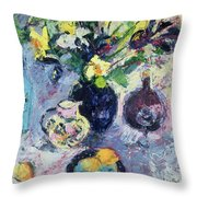 Still Life With Turquoise Bottle Throw Pillow