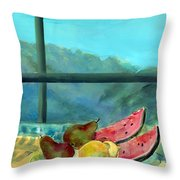 Still Life With Watermelon Oil & Acrylic On Canvas Throw Pillow