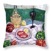 Wine And Capsicum Throw Pillow