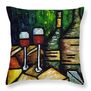 Still Life With Wine And Cheese Throw Pillow