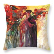 Still Live With Flowers Vase And Black Bottle Throw Pillow
