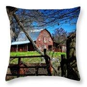Still Useful Rustic Red Barn Art Oconee County Throw Pillow