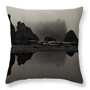 Stillness At Ruby Beach Throw Pillow