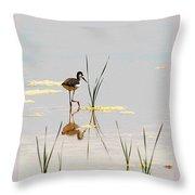 Stilt Chick Exploring Its New World Throw Pillow