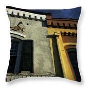 Stitched Buildings Throw Pillow