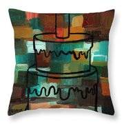 Stl250 Birthday Cake Earth Tones Abstract Throw Pillow