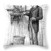 Stock Ticker, 1885 Throw Pillow