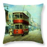 Stockport Tram. Throw Pillow