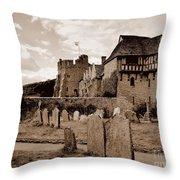 Stokesay Castle Sepia Throw Pillow