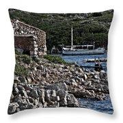 Roman Port Of Sa Nitja In Minorca - Stone And Sea Throw Pillow
