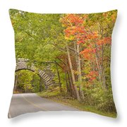 Stone Arch Bridge In Acadia National Park Throw Pillow