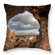 A Natural Stone Arch In North Coast Of Minorca Appears Like A Pass To One Thousand And One Night  Throw Pillow
