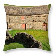 Stone Barn With Red Doors In Swaledale Yorkshire Dales Throw Pillow