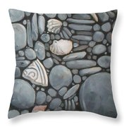 Stone Beach Keepsake Rocky Beach Shells And Stones Throw Pillow